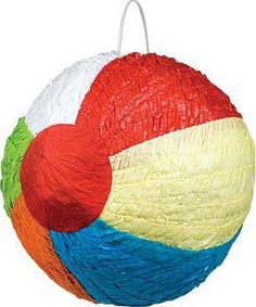 Fill this rainbow-colored beach ball pinata with treats for a great party game.