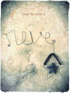 "Mot ""REVE"" en fil de fer et étoile"