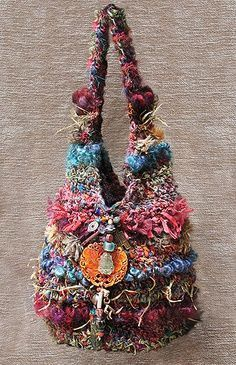 Myra Wood Bags | bag by Myra Wood gorgeous work of art mixed yarns for this unique look