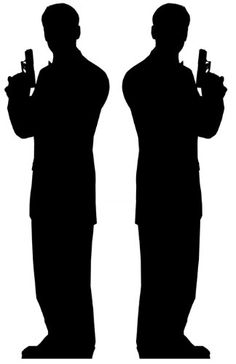 Secret Agent Male (James Bond Style) Double Pack - Silhouette Lifesize Cardboard Cutout / Standee / Standup