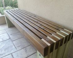 Ana White Build a Modern Slat Top Outdoor Wood Bench Free and Easy DIY Project and Furniture Plans Diy Outdoor Furniture, Furniture Projects, Furniture Plans, Garden Furniture, Wood Projects, Diy Furniture, Outdoor Decor, Outdoor Benches, Antique Furniture