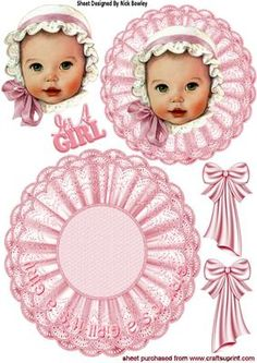 Baby girl in pink bonnet on lace with bows rocker on Craftsuprint - Add To Basket!