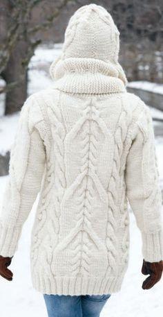 Big Aran Sweater and Earflap Hat Free Knitting Pattern