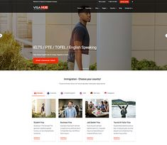 VisaHub - Immigration Consulting WordPress Theme specially design for #immigration #lawyer, #visa #consulting, #IELTS study, #Tofel, #English Speaking classes. Its clean and #Responsive #wordpress theme. Create Landing Page, Best Landing Pages, Landing Page Design, Wordpress Template, Wordpress Theme, Simple Website Design, Mobile Friendly Website, Homepage Design, Responsive Web Design