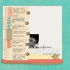 love the tags with washi tape on this LO, and lols to some of the confessions