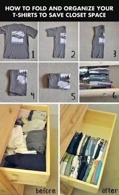 How to Fold & Organize your (tees) shirts to save space