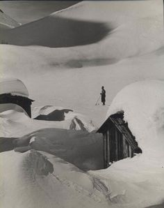 HOPPE, Emil Otto - Chalet and skier - 1950