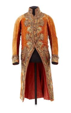 """First Consul jacket owned by Napoleon Bonaparte, 1800 From the Chateau de Malmaison Costume Collection app: """"This sumptuously embroidered jacket was given by the city of Lyon to the First Consul in 1800. He wore it on April 18, 1802 at the Te Deum ceremony held at the cathedral of Notre-Dame in Paris after the signing of the Concordat. Napoleon took it with him to St. Helena. He gave it to the young Hortense Bertrand (daughter of an Empire general) who, when she was older, passed it on to P"""