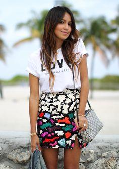 Tee & animal-print wrap skirt