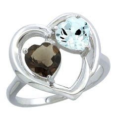14K White Gold Diamond Two-stone Heart Ring 6mm Natural Smoky Topaz and Aquamarine, sizes 5-10 >>> Additional details at the pin image, click it  : Promise Rings Jewelry