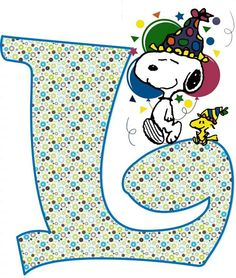 "Snoopy and Woodstock Wearing Party Hats and Standing on a Gigantic Letter ""L"""
