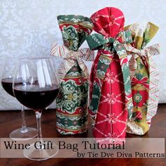 Fabric Wine Gift Bag Tutorial by Tie Dye Diva featuring the Anna Griffin Yuletide Greetings Collection.