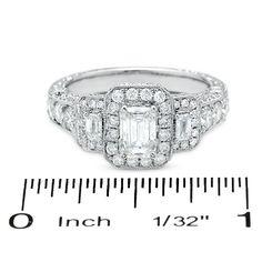 2 CT. T.W. Certified Framed Emerald-Cut Diamond Three Stone Ring in 14K White Gold - Zales