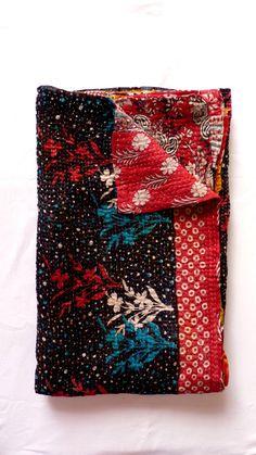 Black Kantha // Throw Blanket