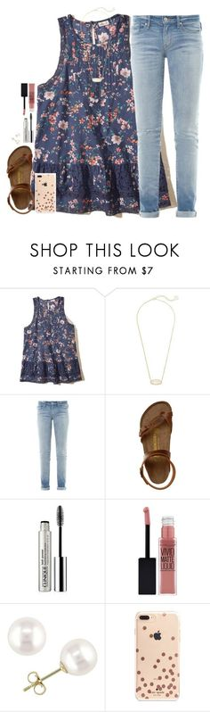 """"""""""" by southernstruttin ❤️ liked on Polyvore featuring Hollister Co., Kendra Scott, Marc by Marc Jacobs, Birkenstock, Clinique, Maybelline, Miadora and Kate Spade"""