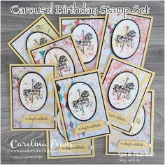 Carolina Evans - Stampin' Up! Demonstrator Melbourne Australia - Carousel Birthday Swaps for the Crazy Crafters Scrapbooking, Scrapbook Cards, Baby Cards, Kids Cards, Stampin Up Carousel Birthday, Horse Cards, Stamping Up Cards, Cute Crafts, Homemade Cards