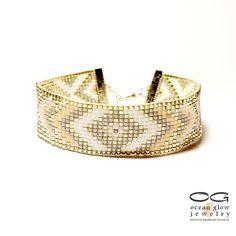 Geometric cuff bead loom bracelet friendship by OceanGlowJewelry