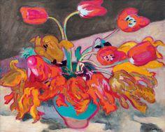 ein-bleistift-und-radiergummi:  Louis Valtat'Tulpen in einer Vase', ca.1923.