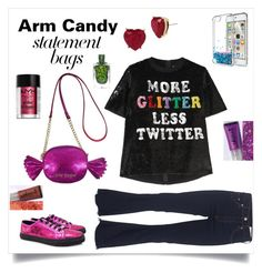 """""""Candy bag"""" by im-karla-with-a-k ❤ liked on Polyvore featuring Betsey Johnson, Ashish, rag & bone, Gucci, NYX and statementbags"""