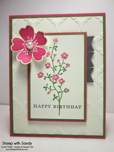 [Stamp With Sandy: Morning Meadow, Stampin' Up] nice flower embellishment used here. The tab banners are a nice touch.