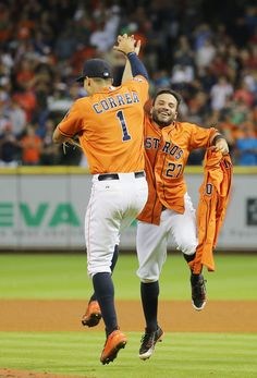 Carlos Correa, Jose Altuve and Mike Fiers' jersey after Fiers tosses a no-hitter v LAD in Houston//Aug 2015 Astros Team, Houston Astros, Baseball Boys, Baseball Players, Mlb Players, Basketball Goals, Buy Basketball, Baseball Equipment, Mlb Teams