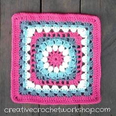 This Cluster Circle In A Square is the 8th Afghan Block in the Crochet A Block Afghan 2017 Crochet Along! Free crochet pattern.