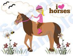 HORSE PONY BARNYARD WALL BORDER decals baby girl kids room nursery stickers decor.