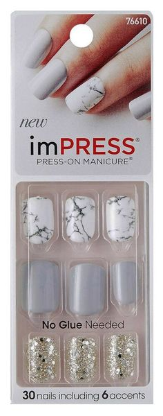 Kiss Impress Press-on Manicure Yeah Boy 30 Nails for sale online Impress Nails Press On, Kiss Press On Nails, Kiss Nails, Toe Nails, Kiss Gel Fantasy Nails, Nail Salon Supplies, Nail Polish Hacks, Natural Nail Polish, Make Up