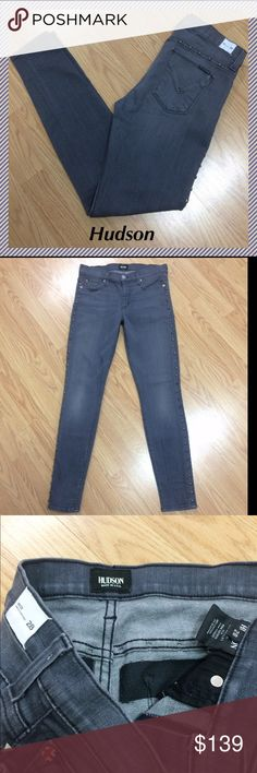"""NWT Hudson skinny jeans size 28 x 29"""" Hudson Gray super skinny studded midrise jeans • 29"""" inseam, 9"""" rise, 15"""" across waist, 10"""" leg opening • 98% cotton, 2% elastan • Very stretchy material • Studs run down the sides and across back above pockets • Brand new with back tag still attached Hudson Jeans Jeans Skinny"""