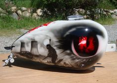 England made wassell bobber gas tank free hand airbrush painted with a post apocalyptic scene