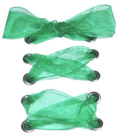 "7/8"" Wide Emerald Green Organza Ribbon Shoelaces ✿ Our beautiful ribbon shoelaces make your ordinary shoes look extraordinary ✿"