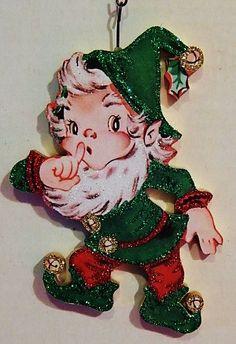 From STROMBOLI'S WAGON on Ebay ~  SANTA's ELF Says SHhhh.. Green & Red ~ Glitter CHRISTMAS ORNAMENT ~ Vtg Card Img