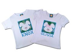 Boy Girl Easter Sibling Shirts - Easter Bunny Box Shirt with Embroidered Name by SunbeamRoad