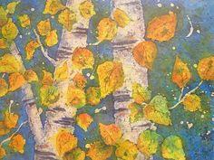 Watercolor Batik Aspen Trees  Original by MarthaKislingArt on Etsy, $150.00
