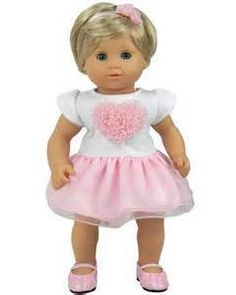 9edc44d08312 15 Inch Doll Heart Tutu Dress. Fits Bitty Baby.