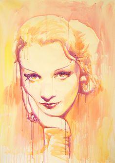 Marlene, Marlene Dietrich, Marta Zawadzka, Original Large Acrylic Painting #Art #CelebrityArt #MarleneDietrich