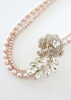 Rose Gold Crystal Rose and Leaf with Freshwater