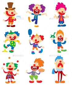 Clown character vector performing different fun activities cartoon illustrations. Clown character funny happy costume cartoon joker. Fun makeup and carnival smile hat nose clown character.