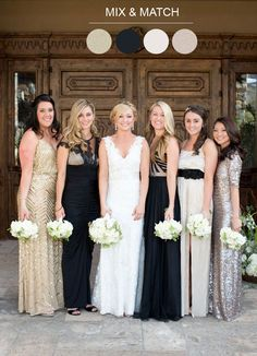 black and gold  Mix and Match Bridesmaids See more http://www.itakeyou.co.uk/wedding/mix-match-bridesmaids/ mix n match bridesmaid dresses,mix and match bridesmaids dresses,mix match bridesmaids,mix match style bridesmaid dresses