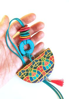 Long pendant necklace polymer clay artisan statement necklace art deco and tassel necklace   hunkiidorii quirky clay jewelry