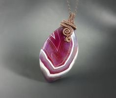 Violet big agate pendant #cool #birthday #women #amazing