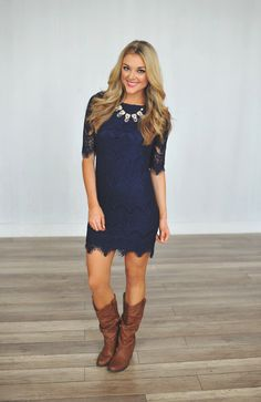 Dottie Couture Boutique - Lace Fitted Dress- Navy Pretty much *this* outfit Dresses With Cowboy Boots, Cowgirl Dresses, Cowgirl Outfits, Navy Dress With Boots, Tight Dresses, Cute Dresses, Party Dresses, Dresses Uk, Short Dresses