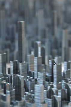 An entire cityscape made of staples.