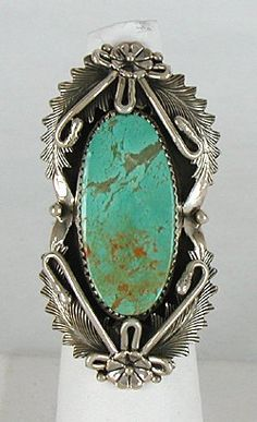 Authentic Navajo Sterling Silver Manassa Turquoise ring size 8