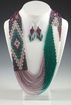 Navajo Beaded Necklace by Rena Charles - loom necklace - Jewelry Seed Bead Necklace, Seed Bead Jewelry, Beaded Earrings, Beaded Jewelry, Handmade Jewelry, Silver Jewelry, Jewellery, Bead Loom Designs, Bead Loom Patterns