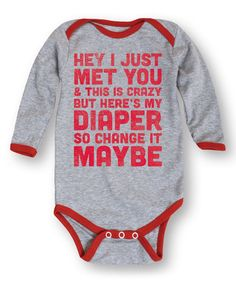 Look what I found on #zulily! Athletic Heather & Red 'Change My Diaper' Bodysuit - Infant #zulilyfinds