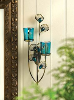 PEACOCK PLUME CANDLE HOLDER WALL SCONCE DECOR~10015948 #Unbranded