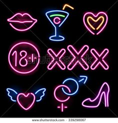 Set of glowing neon erotic symbols on black background - stock vector
