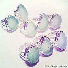 "Sea Glass Ring:  ""classic"" Double bezel: either unique green tone, Seafoam or unique blue"