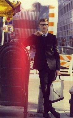 i love the white bag with this look. so dapper nerdy chic
